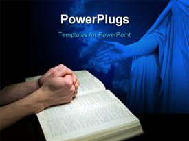 PowerPoint template displaying mans hands clasped in prayer over a Bible with Jesus sculpture