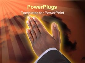 This is businessman with hands in a prayer posture powerpoint theme