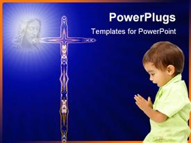 Child praying with his bunny powerpoint design layout