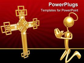 PowerPoint template displaying concept & presentation figure 3D (geoz003) in the background.