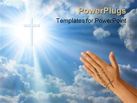 Devoted prayer with rosary in the hands powerpoint template