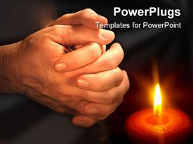 PowerPoint template displaying mans hands folded in prayer in the background.