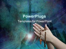 Praying with a rosary background is deep black template for powerpoint