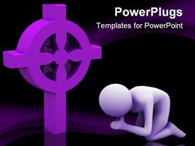 PowerPoint template displaying lavender figure kneels in prayer next to three dimensional religious symbol