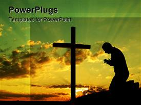 PowerPoint template displaying silhouette of a man making his morning prayer in the background.