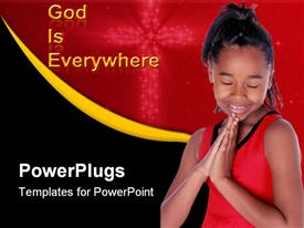 PowerPoint template displaying young African American says her prayers