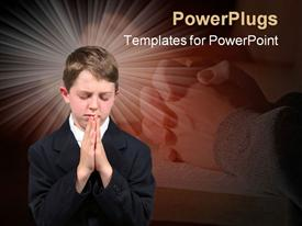 PowerPoint template displaying boy put palms together praying with closed eyes with clasped hand behind