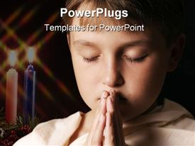PowerPoint template displaying child in prayer - horizontal softness added