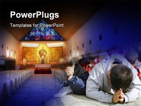 PowerPoint template displaying children praying in the church with christ