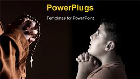 PowerPoint template displaying monk in robe with two hands clasped in prayer in the background.