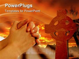 PowerPoint template displaying two large hands clasped together with a large cross