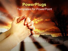 PowerPoint template displaying hands praying with a dramatic red sky over small town