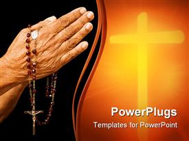 Old Asian woman holds her hands in prayer with a rosary template for powerpoint