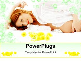PowerPoint template displaying beautiful pregnant woman with flowers in bed