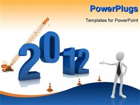 PowerPoint template displaying a crane constructing 2012 depicting a new year coming with white color