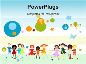 Group of kids playing abstract background creative design powerpoint design layout