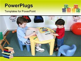 PowerPoint template displaying kids sharing crayons at preschool