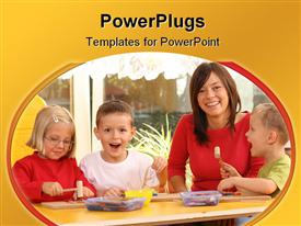 Teacher and three preschoolers playing with wooden blocks powerpoint design layout