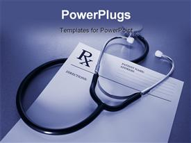 RX prescription form and stethoscope on stainless steel desk blue tone powerpoint template