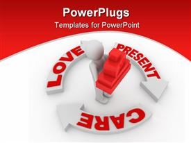 PowerPoint template displaying human holding red blocks, love, present care diagram
