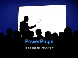 PowerPoint template displaying silhouettes in a business presentation with a white board