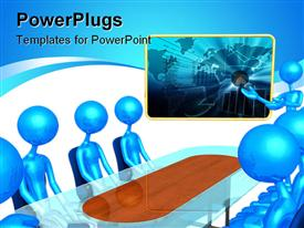 PowerPoint template displaying 3D blue figures sitting around a business table and a 3D blue figure presenting a business plan with chart and world map on the presentation screen