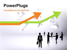 PowerPoint template displaying silhouettes of business people with colored arrows indicating growth and world map