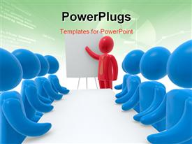 Red person pointing hand at board. Group of blue persons sitting behind desk. Concept of presentation powerpoint theme