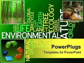 PowerPoint template displaying ecology collage with recycle symbol, tiger, forest in green background with words