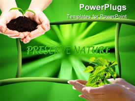 PowerPoint template displaying green plant with leafs like rays. with black background