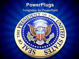 PowerPoint template displaying united states presidential seal in 3D on blue background