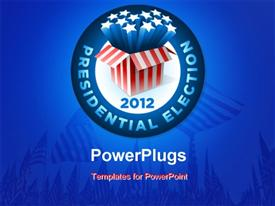 PowerPoint template displaying presidential election badge with exploding american star box and american flags