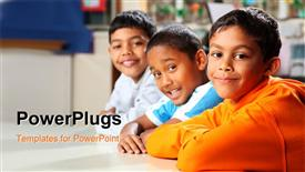 Well behaved and waiting patiently three smiling young school friends together in classroom powerpoint template