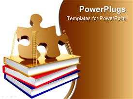 PowerPoint template displaying problem solution books metaphor 3D icon