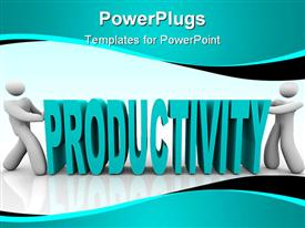 Two people push together letters to form the word Productivity powerpoint design layout