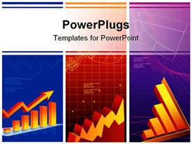 PowerPoint template displaying collage of different business charts showing financial growth