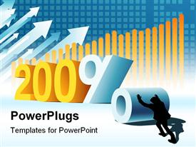 PowerPoint template displaying new Year or two hundred percent profit conceptual business depiction in the background.