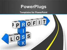 PowerPoint template displaying risk Profit and Loss (blue white crossword puzzle series) in the background.