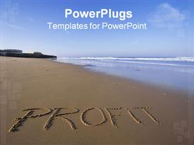 The word profit in the sand on a beach powerpoint design layout