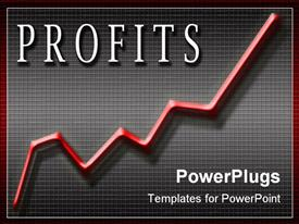 PowerPoint template displaying line graph with the word profits in white lettering