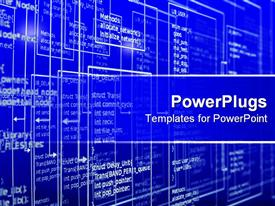 PowerPoint template displaying computer programming algorithm with codes and results on blues screen
