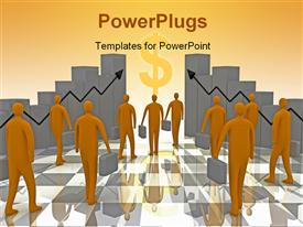 PowerPoint template displaying business people moving towards wealth and growth with 3D bars and arrows