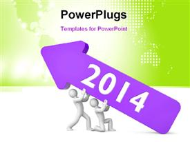PowerPoint template displaying business people uplifting year 2014 in an arrow with world map