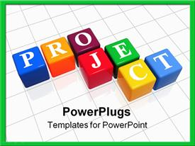 PowerPoint template displaying colored cubes with text PROJECT form crossword puzzle on white surface
