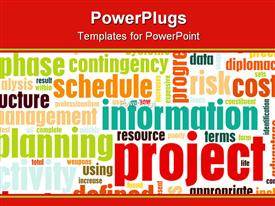 PowerPoint template displaying a background of project planning, schedule, management, analysis and result