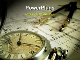 PowerPoint template displaying pocket watch and dividers laying on the architectural project in the background.