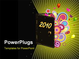 PowerPoint template displaying abstract illustration showing 2010 year coming with black color