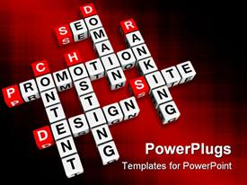 PowerPoint template displaying colored background with crossword of website terms