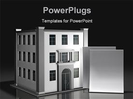 PowerPoint template displaying two blank paper documents standing upright in front of a simple three-story office in the background.
