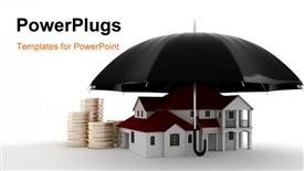 PowerPoint template displaying umbrella covering house depicting property insurance